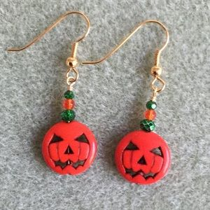 Halloween Jack O'Lantern Beaded Earrings #1